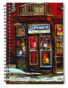 Shops And Streets Of St Henri- Montreal Paintings Depanneur Coca Cola Winter City Scenes Spiral Notebook
