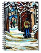 Shovelling Out After January Storm Verdun Streets Clad In Winter Whites Montreal Painting C Spandau Spiral Notebook