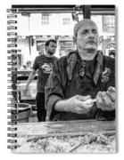 Shucking Oysters In Black And White Spiral Notebook