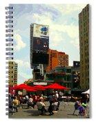 Sidewalk Cafe Lunch Break Red Umbrellas Yonge Dundas Square Toronto Cityscene C Spandau Canadian Art Spiral Notebook