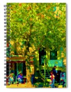 Sidewalk Cafe Rue St Denis Dappled Sunlight Shade Trees Joys Of Montreal City Scene  Carole Spandau Spiral Notebook