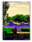 Sights Along The Harbor Late Day Stroll Lachine Canal Bike Path Montreal Scenes Carole Spandau Spiral Notebook