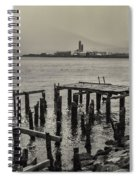 Siglufjordur Old Pier Black And White Spiral Notebook