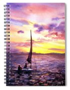 Silhouette Of Boat And Sailors On Torch Lake Michigan Usa Spiral Notebook