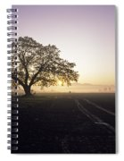 Silhouetted Tree In Field Sunrise Spiral Notebook