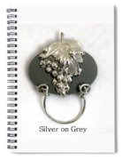 Silver Grapes On Grey Spiral Notebook