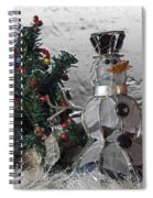 Silver Snowman With Christmas Tree Spiral Notebook