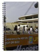 Singapore Flyer Along With The Sight-seeing Bus That Takes Tourists Around The City Spiral Notebook