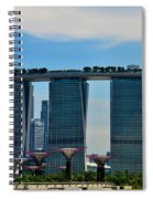 Singapore Skyline With Marina Bay Sands And Gardens By The Bay Supertrees Spiral Notebook