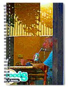 Sipping A Seven Up At Dagwoods Window Seat At The Sandwich Shop Montreal Summer Scene Carole Spandau Spiral Notebook