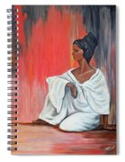 Sitting Lady In White Next To A Red Wall Spiral Notebook