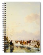 Skaters By A Booth On A Frozen River Spiral Notebook