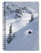 Skier Hitting Powder Below Nak Peak Spiral Notebook