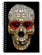 Skull Art - Day Of The Dead 3 Stone Rock'd Spiral Notebook
