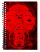 Skull In Negative Red Spiral Notebook