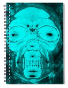 Skull In Negative Turquois Spiral Notebook