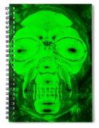 Skull In Radioactive Negative Green Spiral Notebook