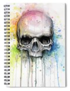 Skull Watercolor Painting Spiral Notebook