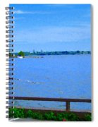Sky Blue Calm Waters Fisherman On The Pier  Lachine Canal Montreal Summer Scenes Carole Spandau Spiral Notebook