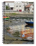 Small Boats And Seagulls In Galicia Spiral Notebook