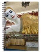 Smiling Reclining Buddha In Yangon Myanmar Spiral Notebook