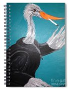 Smoking Egret In Leather Jacket Spiral Notebook