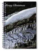 Snow And Icicles Merry Christmas Card Spiral Notebook