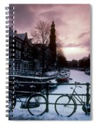 Snow On Canals. Amsterdam, Holland Spiral Notebook