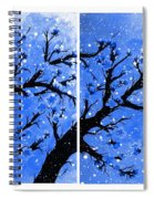 Snow On The Blue Cherry Blossom Tree Spiral Notebook