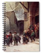 Snow Scene  Children Leaving School Spiral Notebook