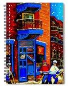 Snowday Hockey Practice Wilenskys Corner Fairmount And Clark Montreal City Scene Carole Spandau Spiral Notebook