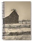 Snowstorm At The Ranch Sepia Spiral Notebook
