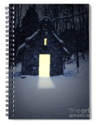 Snowy Chapel At Night Spiral Notebook