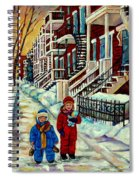 Snowy Day Rue Fabre Le Plateau Montreal Art Winter City Scenes Paintings Carole Spandau Spiral Notebook