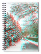 Snowy Lane - Use Red/cyan Filtered 3d Glasses Spiral Notebook