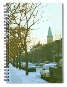Snowy Montreal Winters City Scene Paintings Verdun Memories Church Across The Street Spiral Notebook