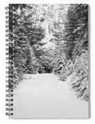 Snowy Mountain Road - Black And White Spiral Notebook