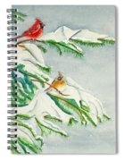 Snowy Pines And Cardinals Spiral Notebook