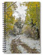 Snowy Road In Fall Spiral Notebook