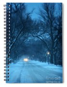 Snowy Road On A Winter Evening Spiral Notebook