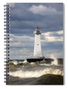 Sodus Outer Lighthouse On Stormy Lake Spiral Notebook