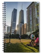Softball By Skyscrapers Spiral Notebook
