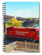 Solo Red Canadian Pacific Engine Along Rock River In Rockford Spiral Notebook