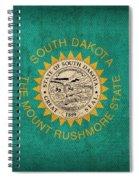 South Dakota State Flag Art On Worn Canvas Spiral Notebook