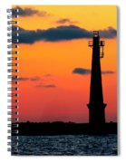 South Pier Light At Night Spiral Notebook