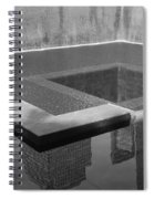 South Tower Pool In Black And White Spiral Notebook