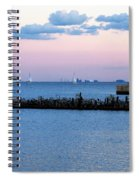 Southeast Guidewall Lighthouse At Sunset And Tall Ship Windy Spiral Notebook