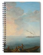 Southern Mediterranean Seascape With Boats And Figures At Sunset Spiral Notebook