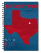 Southern Methodist University Mustangs Dallas Texas College Town State Map Poster Series No 098 Spiral Notebook