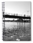 Southport Pier Across The Marine Lake Bw Spiral Notebook